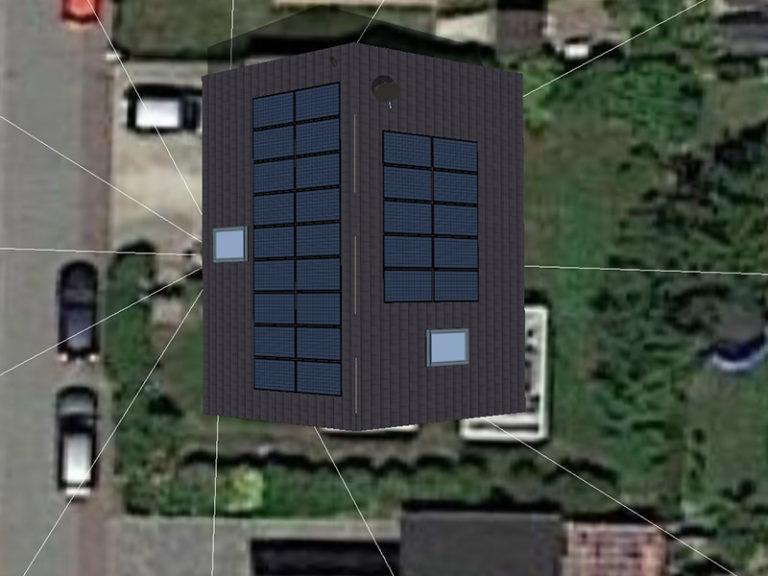mittleres Haus mit Solarplatten