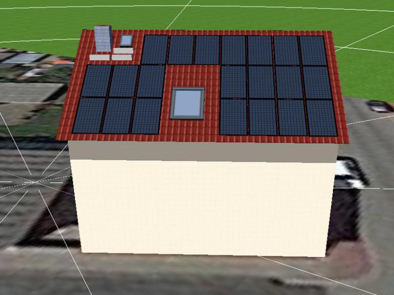 Kleines Haus mit Solarplatten